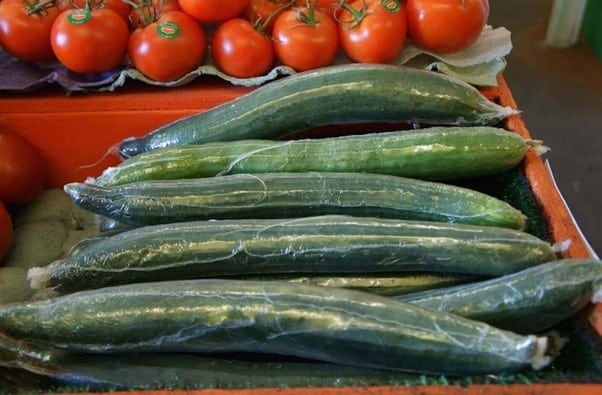 english cucumbers wrapped in plastic